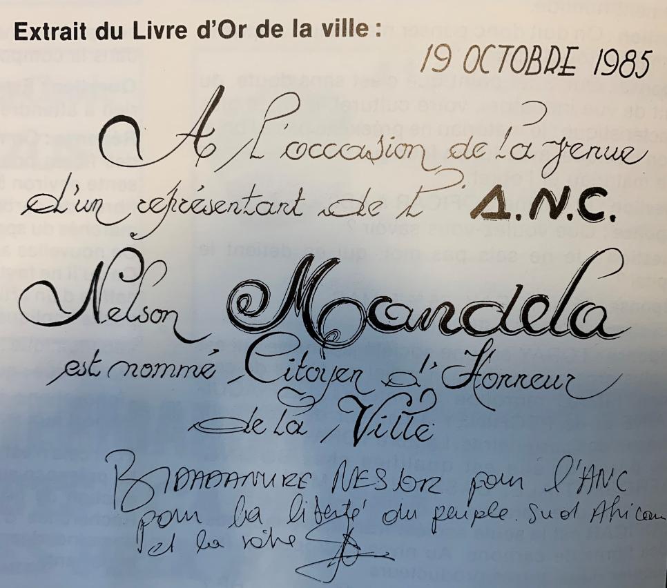 Nelson Mandela, citoyen d'honneur de la ville de Mourenx